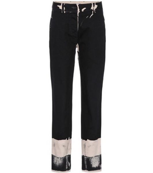 Prada Printed cotton trousers in black