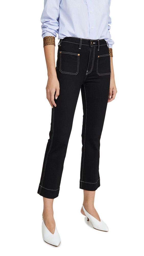 Khaite Raquel Patch Cropped Flare Jeans in black / ivory