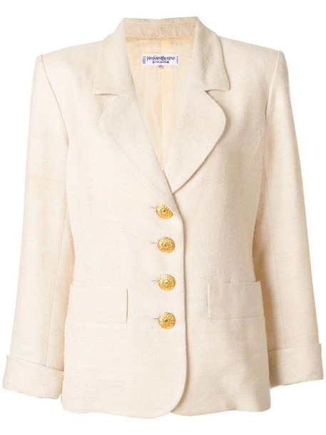Yves Saint Laurent Pre-Owned contrast-button blazer in neutrals