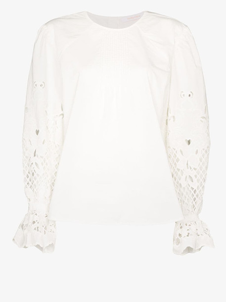 See By Chloé See By Chloé embroidered back button cotton poplin top in white