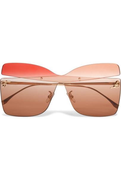 Fendi - Oversized Square-frame Gold-tone Sunglasses - Brown
