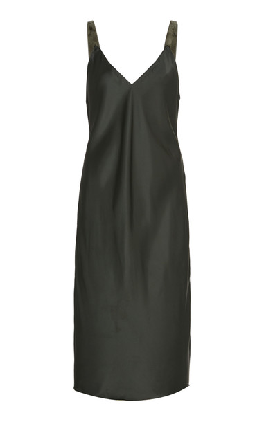 Helmut Lang Velvet Strap Slip Dress in green