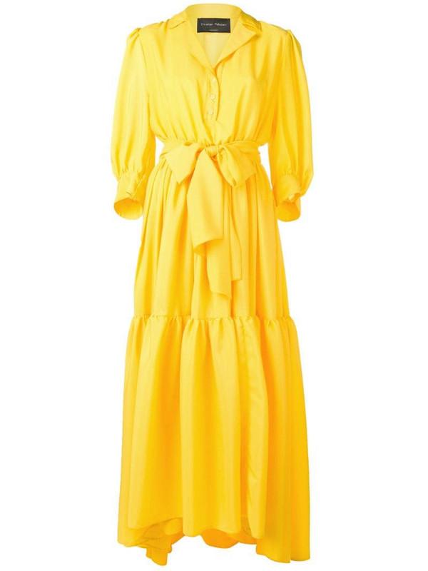 Christian Pellizzari tiered maxi dress in yellow