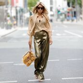 pants,wide-leg pants,blouse,puffed sleeves,sandal heels