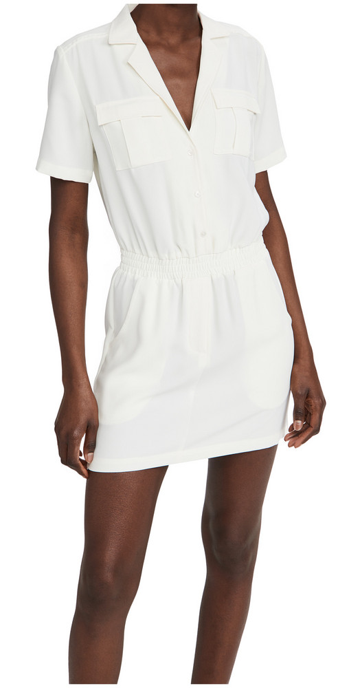 Amanda Uprichard Short Sleeve Felix Dress in ivory