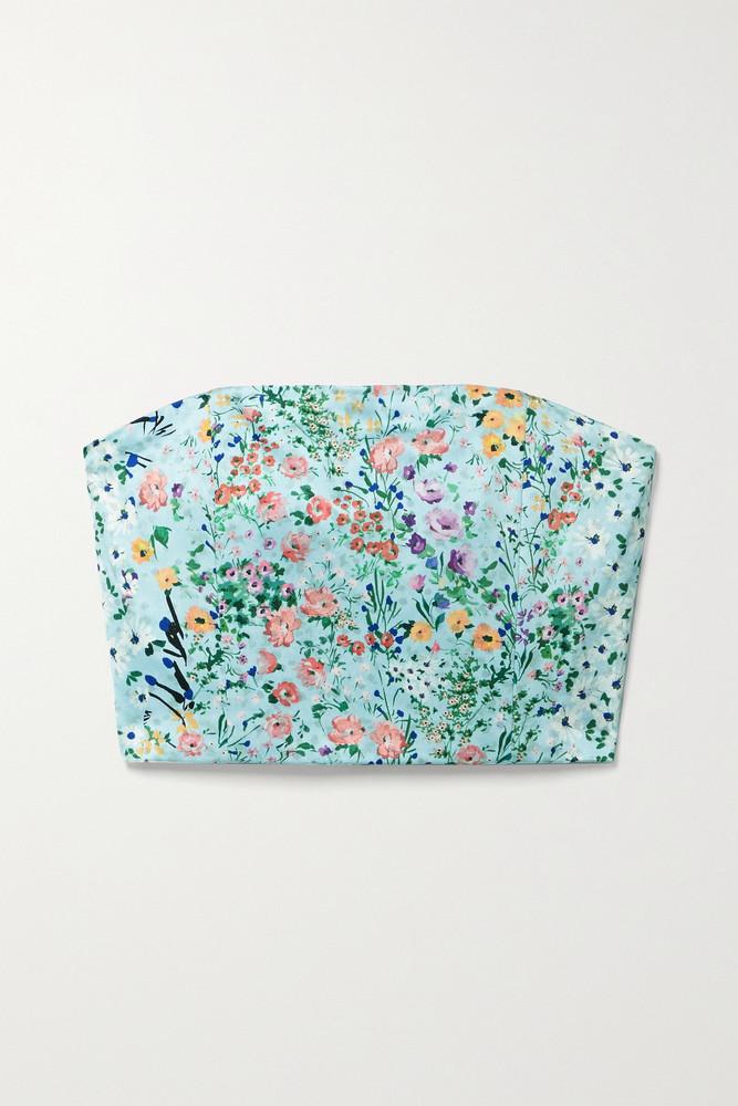 ALICE + OLIVIA ALICE + OLIVIA - Ceresi Smocked Floral-print Satin Bandeau Top - Blue