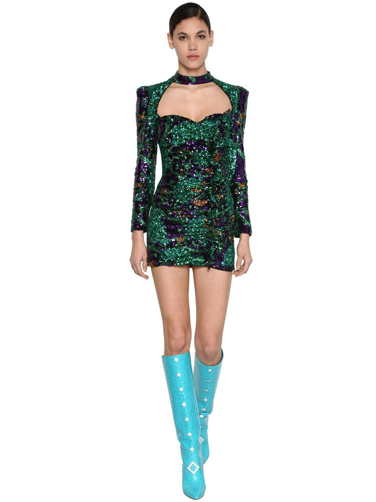 GIUSEPPE DI MORABITO Sequined Mini Dress W/ Ruffle Details