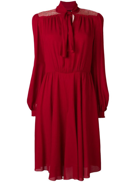 Giambattista Valli flared longsleeved dress in red