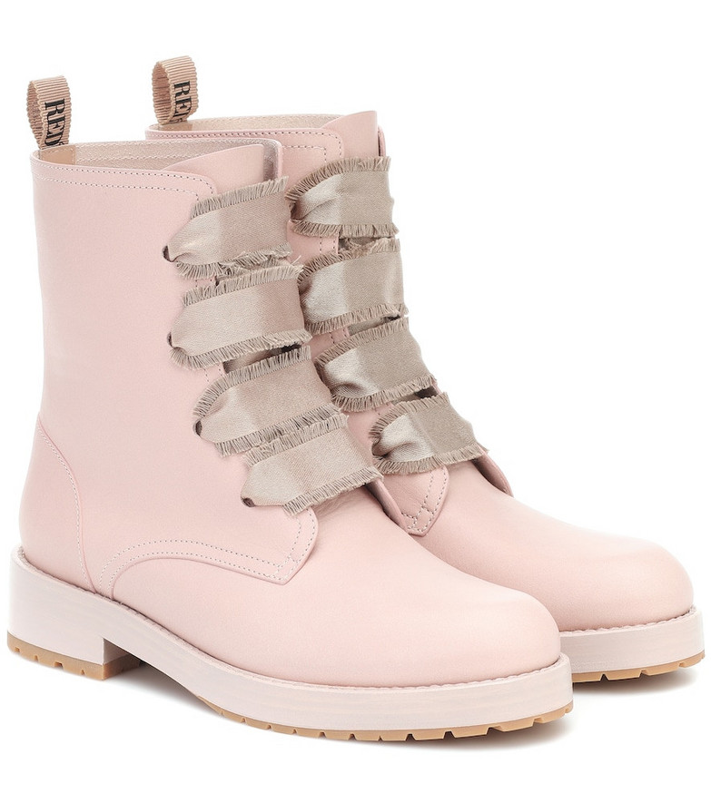 RED (V) RED (V) leather ankle boots in pink