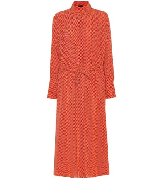 Joseph Evie floral silk-crêpe shirt dress in orange