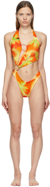 Louisa Ballou Orange & Yellow Sex Wax One-Piece Swimsuit