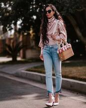 top,turtleneck,pink blouse,zimmermann,silk,jeans,cropped jeans,slingbacks,handbag