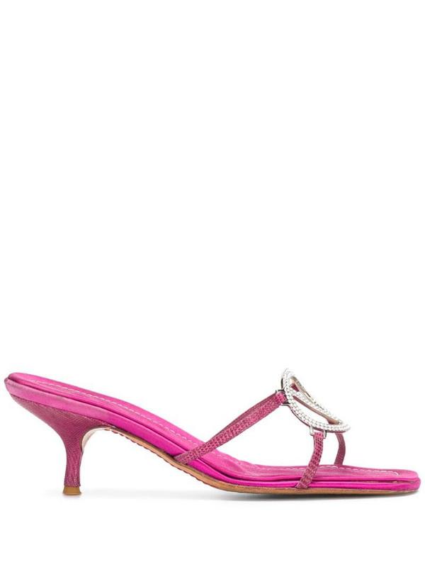 Valentino Garavani Pre-Owned 2000's crystal-embellished slip-on sandals in pink