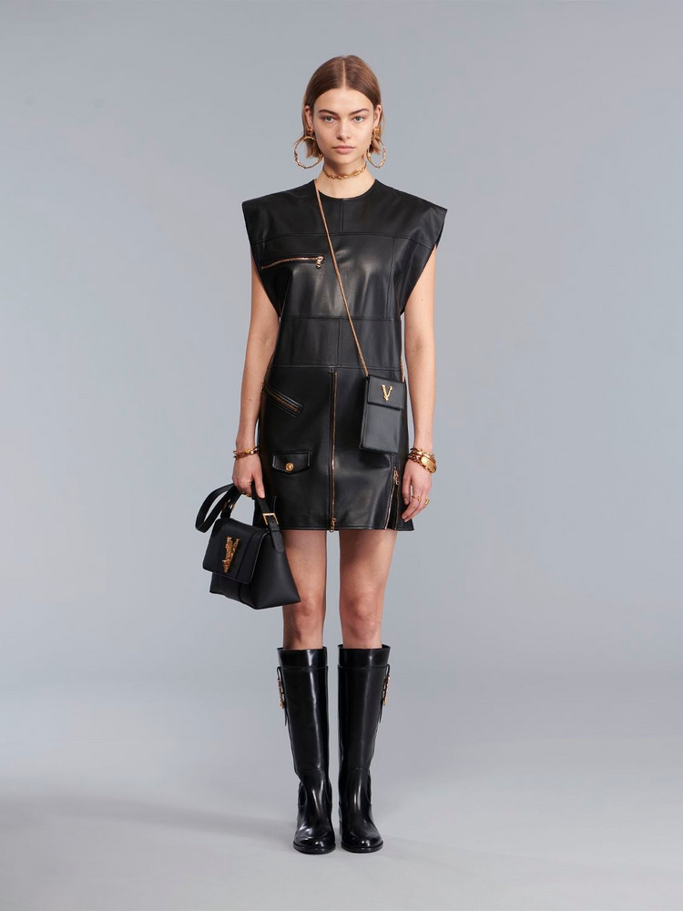 VERSACE Leather Biker Mini Dress in black