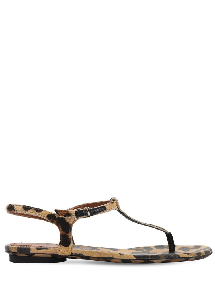 L'AUTRE CHOSE 10mm Leopard Print Pony Skin Sandals in black / brown