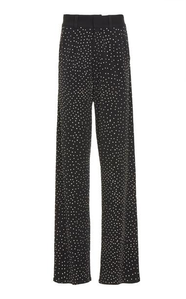 Balmain Crystal Detailed Wide-Leg Jersey Pants Size: 40 in black