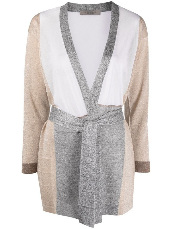 D.Exterior longline belted cardigan in neutrals