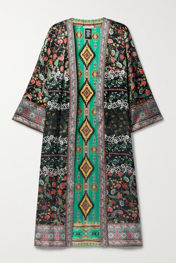 Alice + Olivia Alice + Olivia - Nessa Reversible Printed Satin Kimono - Black