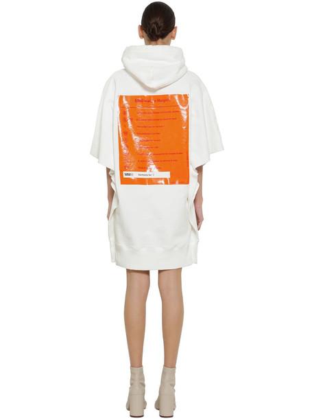 MM6 MAISON MARGIELA Hooded Cotton Sweatshirt Dress in white