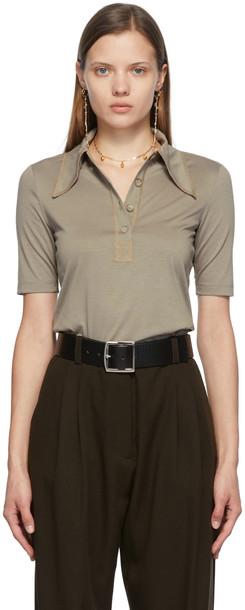 Maiden Name SSENSE Exclusive Khaki Jess Polo T-Shirt