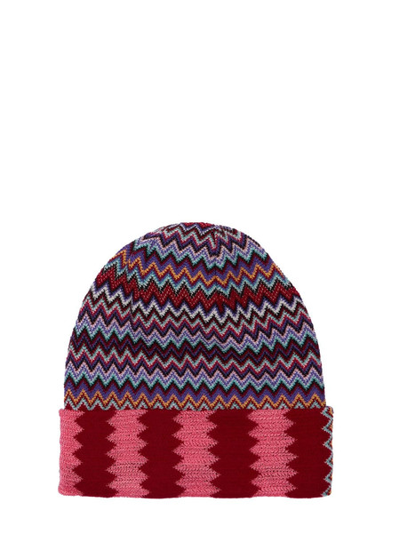 MISSONI Knit Zig Zag Wool & Viscose Beanie in purple