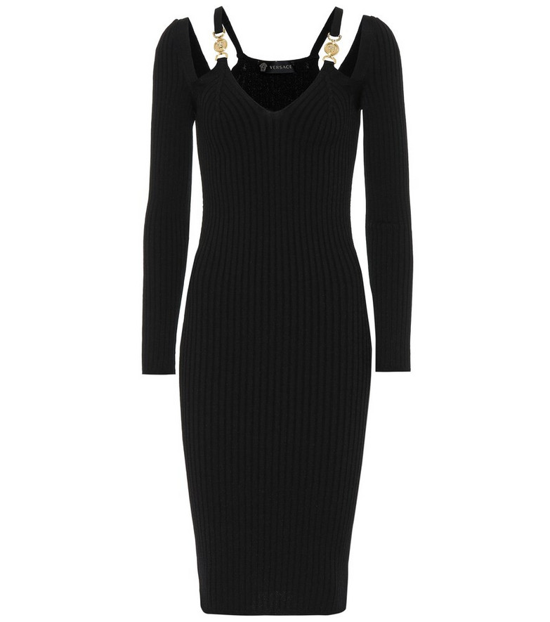 Versace Ribbed-knit bodycon midi dress in black