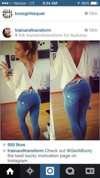 blouse open back white jeans