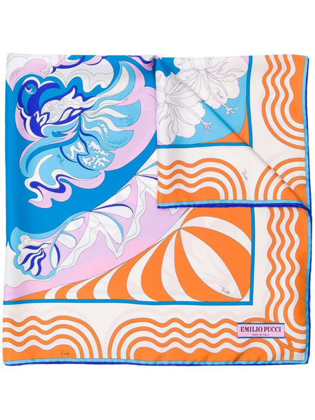 Emilio Pucci psychedelic-style patterned scarf in blue
