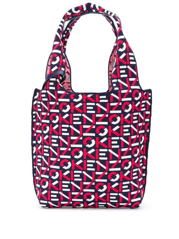 Kenzo logo print tote bag in blue
