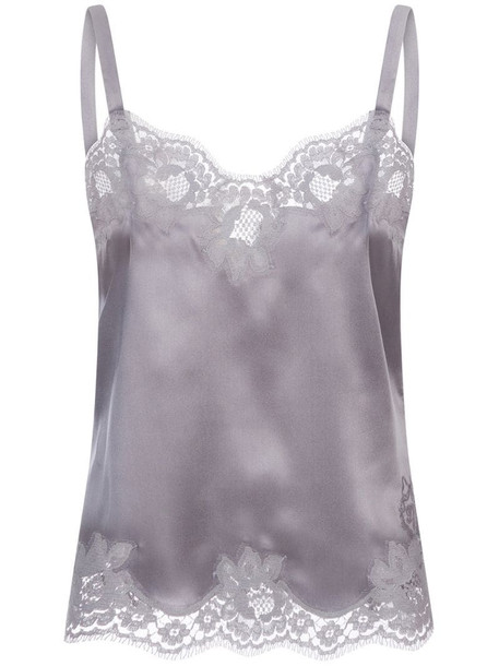 Dolce & Gabbana floral lace-trim camisole in grey