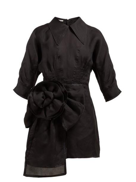 Miu Miu - Rosette Silk Gazar Mini Dress - Womens - Black