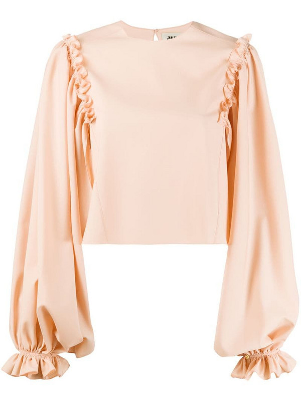 Maison Rabih Kayrouz ruffle-trimmed cropped blouse in pink