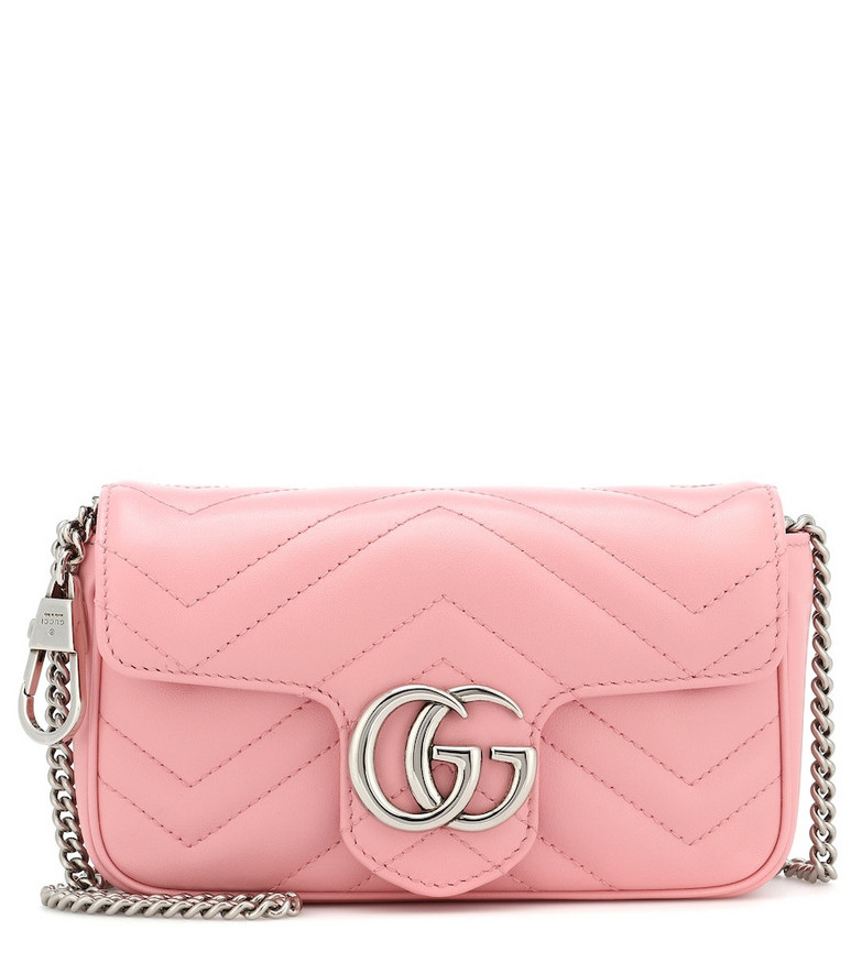 Gucci GG Marmont Super Mini leather shoulder bag in pink