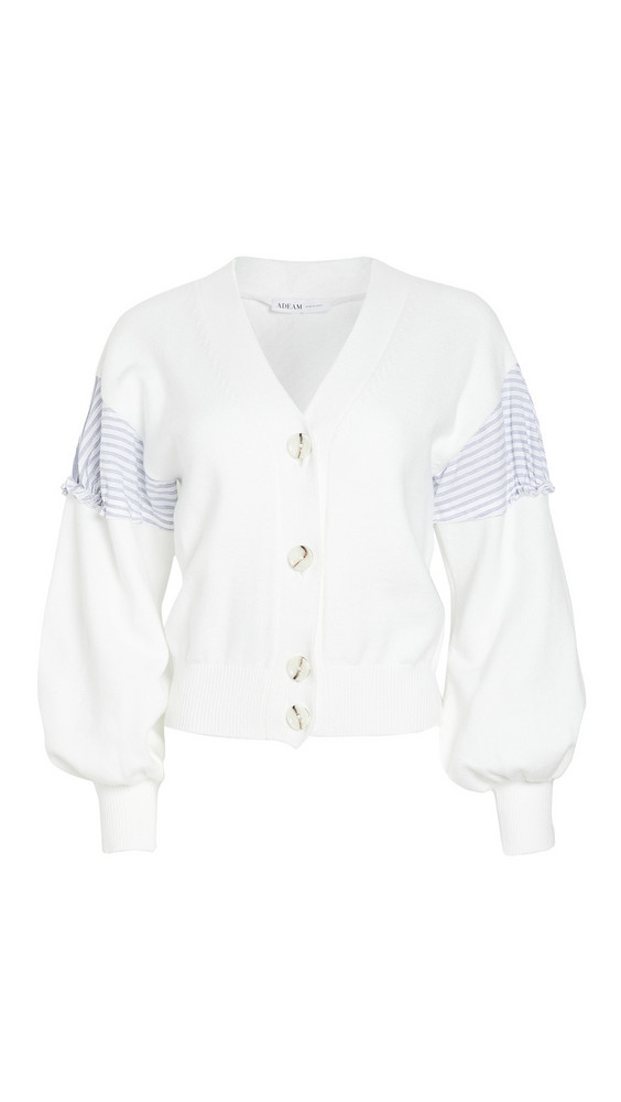 Adeam Ruched Cardigan in white