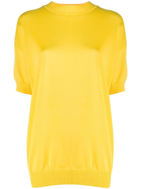 Plan C relaxed-fit short sleeve jumper in yellow