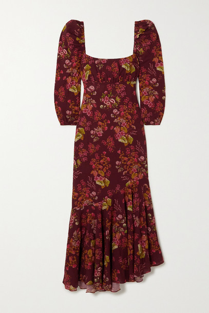 PEONY - + Net Sustain Floral-print Organic Cotton-blend Dress - Burgundy