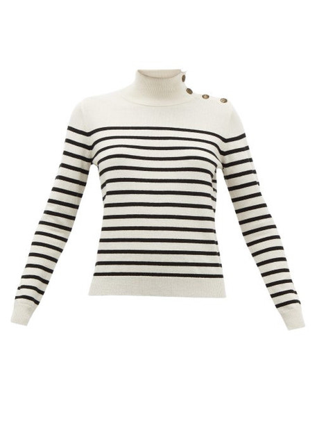 Nili Lotan - Beale Striped High-neck Cashmere Sweater - Womens - Ivory Multi