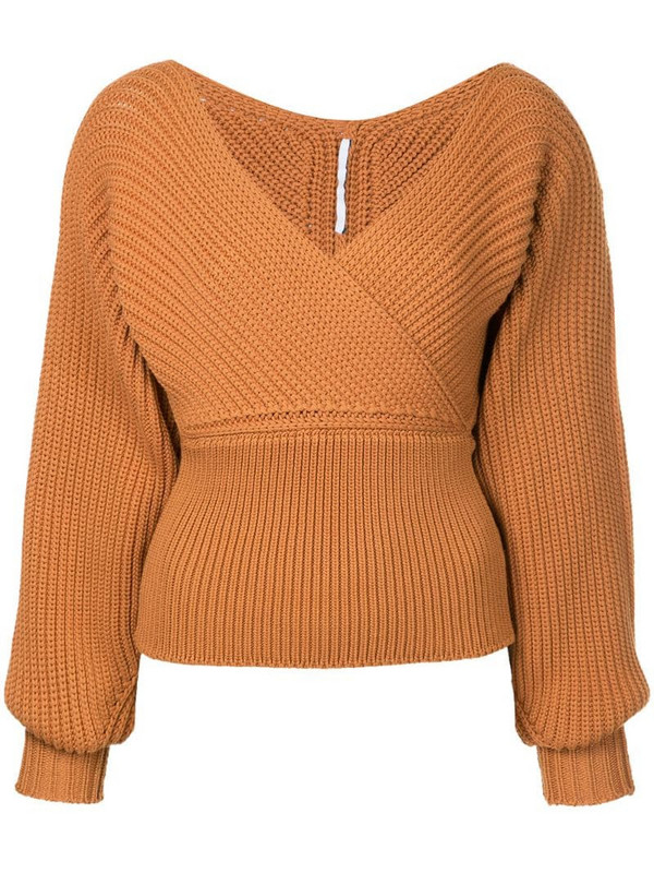 Rosetta Getty wrap neckline sweater in brown
