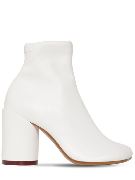 MM6 MAISON MARGIELA 90mm Stretch Faux Leather Boots in white