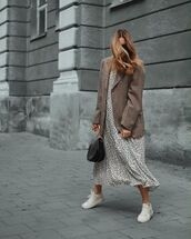 dress,white dress,midi dress,polka dots,white sneakers,black bag,plaid blazer