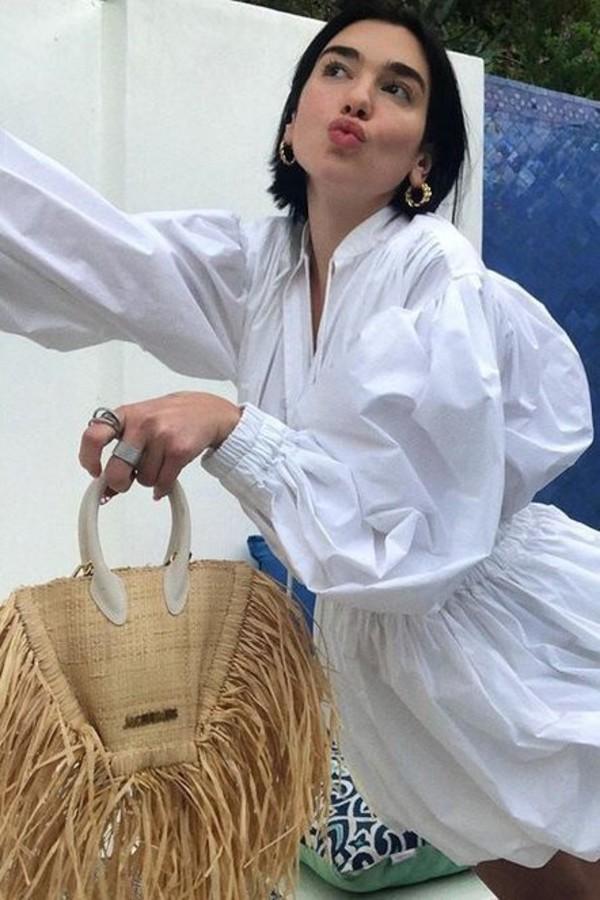 romper dua lipa celebrity white white shirt shorts