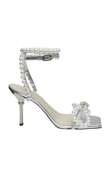 Mach & Mach Pearl Embellished Sandals in silver