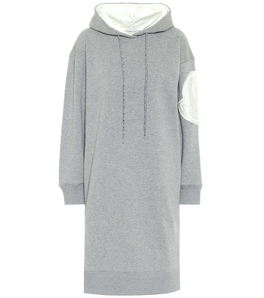Moncler Cotton-blend jersey sweater dress in grey