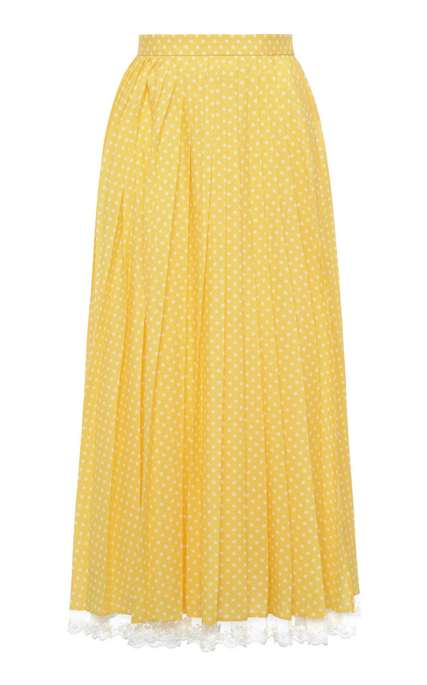 Miu Miu Lace-Trimmed Pleated Polka-Dot Crepe Midi Skirt in yellow