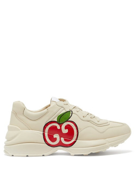 Gucci - Rhyton Apple-print Leather Trainers - Womens - White Multi