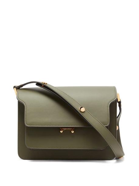 Marni - Trunk Medium Leather Shoulder Bag - Womens - Dark Green
