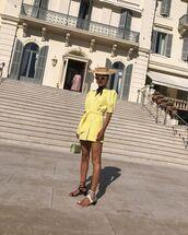 dress,yellow dress,mini dress,sunglasses,hat,sandals