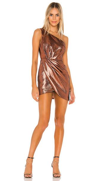 Michael Costello x REVOLVE Harrison Mini Dress in Metallic Bronze