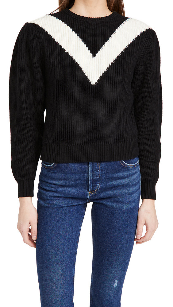 Victor Glemaud Intarsia V Neck Crew Sweater in black / cream
