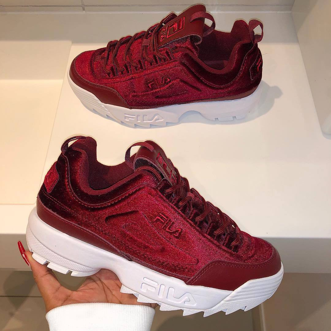 shoes red suede sneakers fila